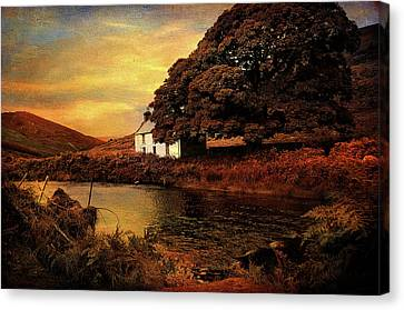 Golden Sunset At Lake.  Rural Ireland Canvas Print