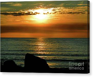 Canvas Print featuring the photograph Golden Sunset At The Beach IIi by Mariola Bitner