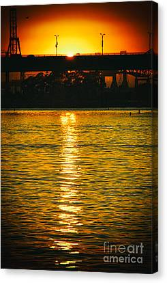 Canvas Print featuring the photograph Golden Sunset Behind Bridge by Mariola Bitner