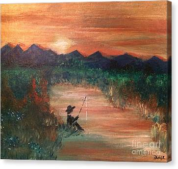 Canvas Print featuring the painting Golden Sunset by Denise Tomasura