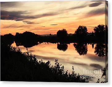 Golden Sunset Reflection Canvas Print by Carol Groenen