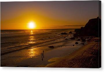 Canvas Print featuring the photograph Golden Sunset Walk On Malibu Beach by Jerry Cowart