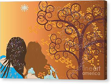 Canvas Print featuring the digital art Golden Swirl Girls by Kim Prowse