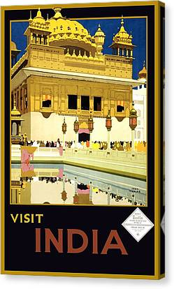 Golden Temple Canvas Print - Golden Temple Amritsar India - Vintage Travel Advertising Poster by Fred Taylor