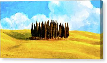 Canvas Print featuring the mixed media Golden Tuscan Landscape Artwork by Mark Tisdale