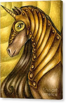 Golden Unicorn Warrior Art Canvas Print