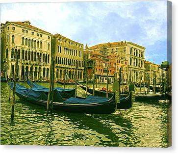 Canvas Print featuring the photograph Golden Venice by Anne Kotan