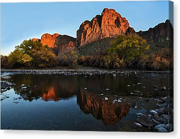 Canvas Print featuring the photograph Goldfield Mountains On The Salt River by Dave Dilli