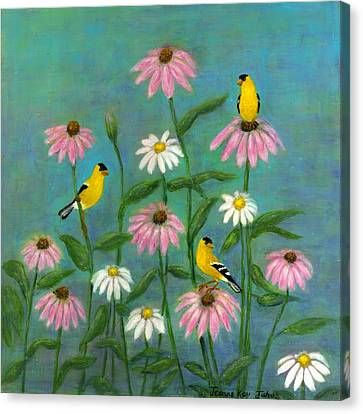 Canvas Print featuring the painting Goldfinch And Cone Flowers by Jeanne Kay Juhos