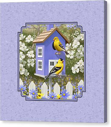 Goldfinch Birdhouse Lavender Canvas Print by Crista Forest