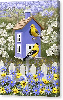 Goldfinch Garden Home Canvas Print by Crista Forest