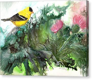 Canvas Print featuring the painting Goldfinch by Sherry Shipley