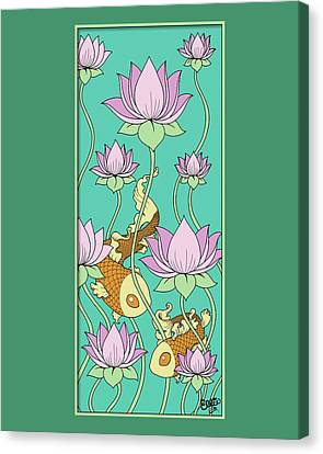 Goldfish And Lotus Canvas Print by Eleanor Hofer