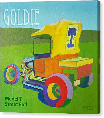 Antique Automobiles Canvas Print - Goldie Model T by Evie Cook