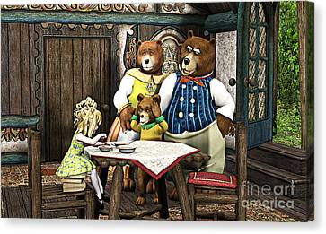 Goldilocks Canvas Print - Goldilocks N The 3 Bears by Methune Hively