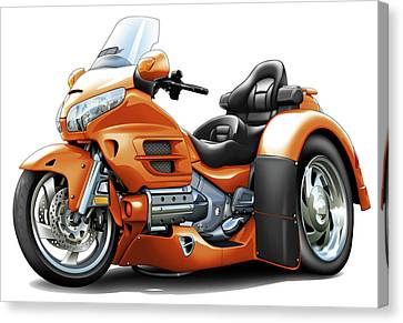 Goldwing Orange Trike Canvas Print by Maddmax