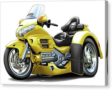 Goldwing Yellow Trike Canvas Print by Maddmax