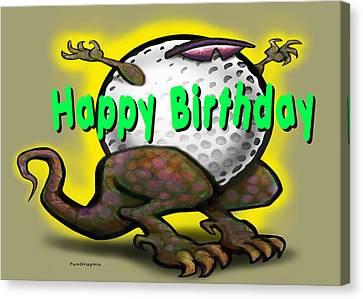 Golf A Saurus Birthday Canvas Print by Kevin Middleton