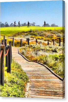Canvas Print featuring the photograph Golf At Pebble Beach by Kathy Tarochione
