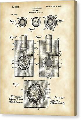 Iron Canvas Print - Golf Ball Patent 1902 - Vintage by Stephen Younts