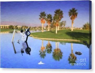 Canvas Print featuring the photograph Golf Cart Stuck In Water by David Zanzinger