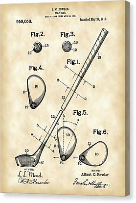 Antique Canvas Print - Golf Club Patent 1909 - Vintage by Stephen Younts