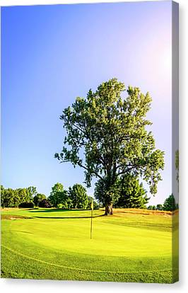 Canvas Print featuring the photograph Golf Course by Alexey Stiop