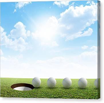 Sink Hole Canvas Print - Golf Hole And Ball Putt Path by Allan Swart