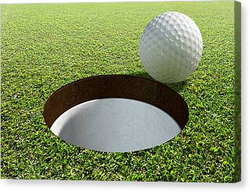 Sink Hole Canvas Print - Golf Hole With Ball Approaching by Allan Swart