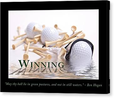 Golf Ball Canvas Print - Golf Motivational Poster by Tom Mc Nemar