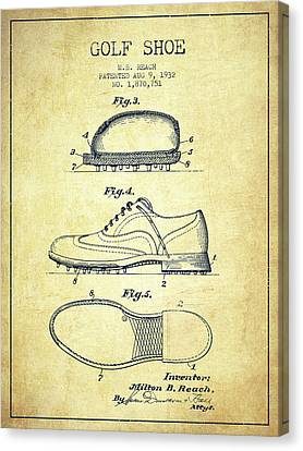 Golf Shoe Patent Drawing From 1931 - Vintage Canvas Print