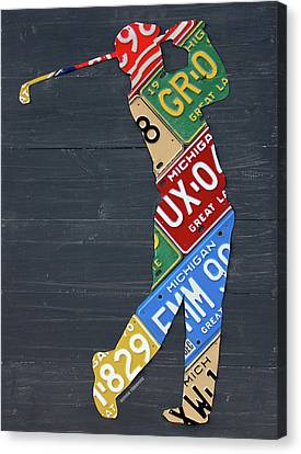 Golfer Silhouette Recycled Vintage Michigan License Plate Art Canvas Print