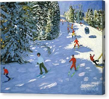 Downhill Canvas Print - Gondola Austrian Alps by Andrew macara