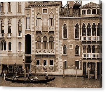 Canvas Print featuring the photograph Gondola Crossing Grand Canal by Donna Corless