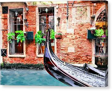 Scenes Of Italy Canvas Print - Gondola In Venice by Mel Steinhauer