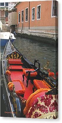 Gondola Rossa Venice Italy Canvas Print