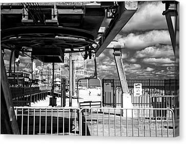 Casino Pier Canvas Print - Gondola View Mono by John Rizzuto