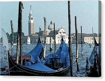 Canvas Print featuring the digital art Gondolas Across San Giorgio by Donna Corless