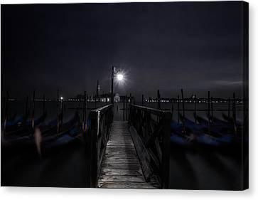 Gondolas In The Night Canvas Print