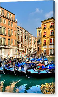 Gondolas In The Square Canvas Print by Peter Tellone
