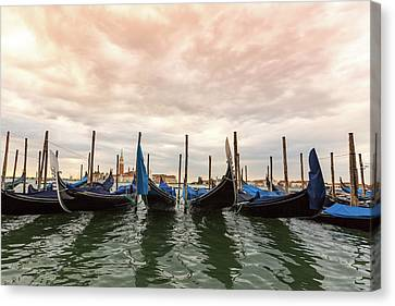 Canvas Print featuring the photograph Gondolas In Venice by Melanie Alexandra Price