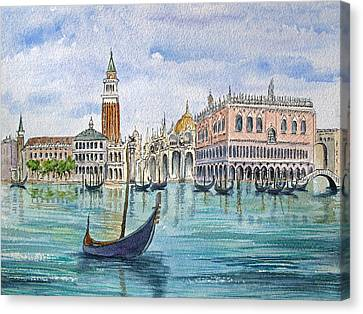 Gondolas Near Piazza San Marco In Venice Italy Canvas Print by Bonnie Sue Schwartz