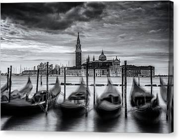 Gondolas Of Venice Canvas Print by Andrew Soundarajan