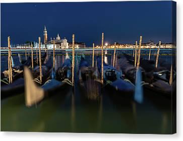 Gondole. Venice At Night Canvas Print