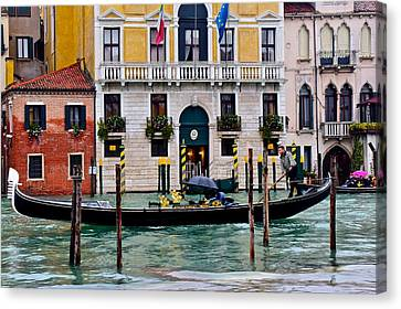 Gondolier At Work Canvas Print by Frozen in Time Fine Art Photography