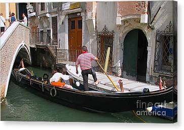 Gondolier By The Bridge- Venice Canvas Print by Italian Art