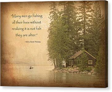 Thoreaus Cabin Canvas Print - Gone Fishing... by David Ross