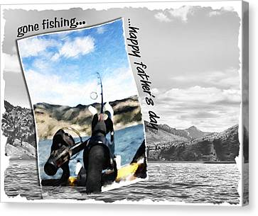 Gone Fishing Father's Day Card Canvas Print