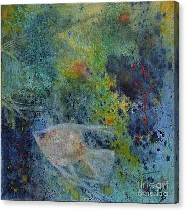Canvas Print featuring the painting Gone Fishing by Karen Fleschler