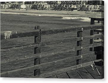 Gone Fishing In Black And White Canvas Print